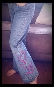 Girls size 10 Embroidered denim jeans